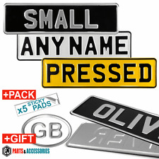 SINGLE SMALL/SHORT Reflective White,Yellow,Black PRESSED Number Plates ANY NAME!