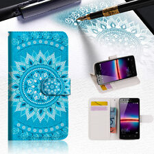 """BLUE AZTEC TRIBAL Wallet TPU Case Cover For New Huawei Y7 5.5"""" -- A001"""
