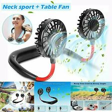 Mini Fan Hand Free Neck Hanging Air Cooler USB Chargeable Summer Sports Dual Fan