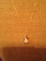 Opal Tear Drop Pendent with Gold Necklace ..