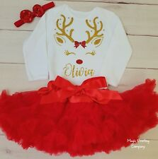 ANY NAME Baby Girls Christmas Reindeer Outfit Red Tutu Costume Dress Xmas 1st UK