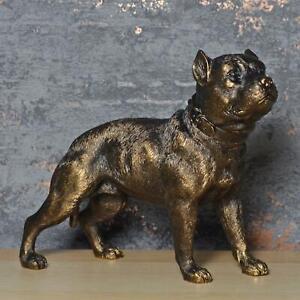 Pit Bull Terrier Dog Statue Bronze Effect Sculpture Pet Figurine Ornament