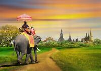 A1 | Bangkok Thailand Elephant Ride Poster Art Print 60 x 90cm 180gsm #16216