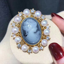 Vintage Lady Cameo Pearl Brooch Pin Women Wedding Bridal Broach Jewelry Gifts