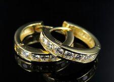 Women's .925 Sterling Silver Hoop Earrings with Single Channel Row Lab Diamonds