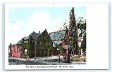 Central Congragational Church Fall River MA Massachusetts UDB Postcard D1