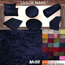 Mv98 Navy Crushed Velvet Sofa Seat Patio Bench Box Cushion Bolster Cover/Runner