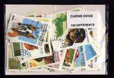Chiens - Dogs 100 timbres différents oblitérés