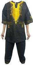 """African Kid Clothing Pant Suit Outfit Black Gold Size 10/12 Fit up to 36"""" around"""