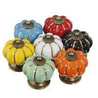 Retro Pumpkin Round Draw Pull Handle Cupboard Drawers Ceramic Knobs Cabinet Knob