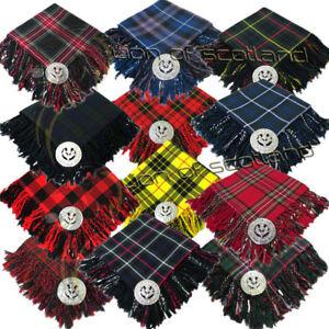 Piper Scottish Kilts Fly Plaid Tartans Acrylic Wool 48x48 Thistle Brooch Chrome