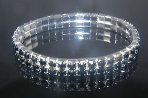 WOMENS DIAMANTE STRETCHY NEW 2 ROW BRACELETS- DIFFERENT COLOURS AVAILABLE-BR