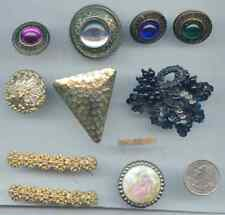 Vintage Lot of Button Covers and Shoe Hair Clip Jeweled PC
