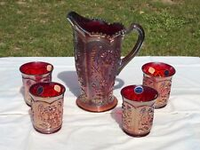 Ruby Red Imperial Carnival Glass Pitcher & Tumbler Set