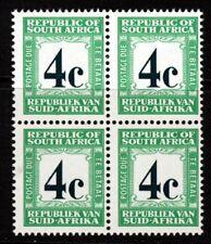 SOUTH AFRICA 1969 4c. Deep Myrtle Green & Emerald POSTAGE DUE BLOCK SG D62b MNH