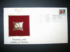 1987 CHRISTMAS ORNAMENTS TRADITIONS 22kt Gold Golden Replica Cover STAMP