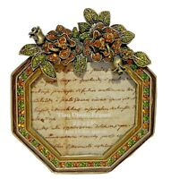 """TIZO Italy Vintage Jeweled Green Leafs & Amber Flowers Picture Frame 2.5"""" x 2.5"""