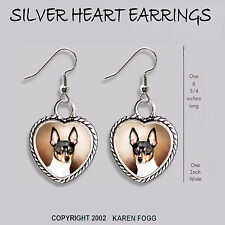 Toy Fox Terrier Dog - Heart Earrings Ornate Tibetan Silver