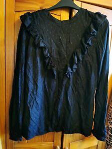 Ladies Next Black Spot Smart Style Blouse Size 10 Top