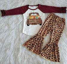 New Fall Outfits Toddler Girls Pumpkin Leopard Printed Bell Bottoms Clothing set