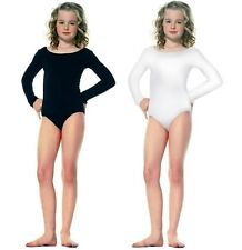 NEW GIRLS SOFT BASIC NYLON LONG SLEEVE BALLET DANCE BODYSUIT LEOTARD TOP M L XL