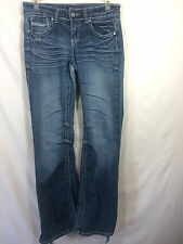 ZCO JEANS DISTRESSED DESTROYED FLARE CUT SIZE 7S STRETCH DENIM