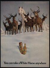 1973 CHRISTMAS Reindeer & WHITE HORSE Scotch Whiskey - Santa Claus - VINTAGE AD
