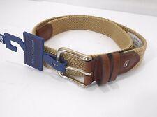 Tommy Hilfiger Men's Woven Khaki Stretch Belt Brown Leather Trim Sz 32-34 *NEW