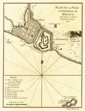 'Plan de la Ville et Forteresse de Malaca'. Malacca, Malaysia. BELLIN 1750 map