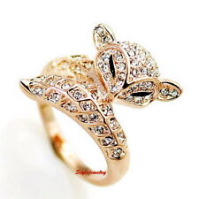18k Rose Gold Plated Clear Crystal Cocktail Fox Animal Ring Size 5 R57