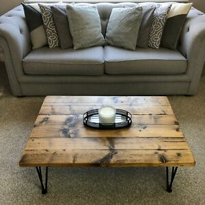 Reclaimed wood coffee table with hairpin Steel legs in Black * The Pitsford