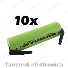 10X batteria litio li-ion icr lir 18650 3.7v 2600mAh terminali a saldare tabs