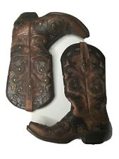 LUCCHESE FIONA WOMENS Fits Sz 7 STUDDED SCARLET BROWN LEATHER BOOTS COWBOY