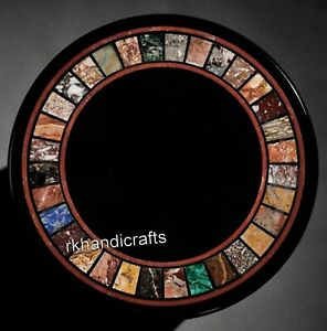 Multicolor Stones Inlaid at Border Sofa Table Top Patio Side Table Size 21 Inch