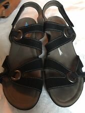 New Black Suede MEPHISTO Strappy Sandals Size 37 6.5 Comfort Shoes Velcro