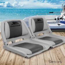 Set 2 Swivel Folding Marine Boat Seats Grey Charcoal Weather Premium Fishing
