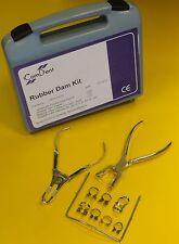10 Pc Dental Restorative Rubber Dam Kit Clamps Punch Pliers Rubber Dam Frame Kit