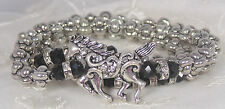 Horse Stretch Bracelet Silver Black Bead Crystal Fashion Jewelry New