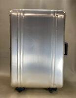 """Vintage Zero Halliburton Gold Aluminum 29"""" Four Wheeled Suitcase Luggage"""