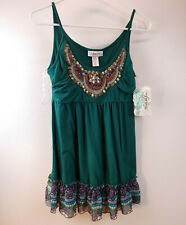 Belle Du Jour Beaded Green Ruffle Cami Tank Womens Size Small Top Z30