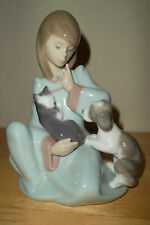 "Lladro Collectable Figurine From Spain ""Cat Nap"" #5640 Girl Ktten Puppy"