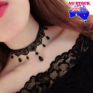 Genuine Black Gothic Lace Velvet Choker With Water Drop Necklace Jewelry