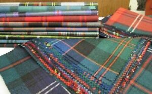 """Tartan Patchwork 100% Wool Remnant Offcuts Squares 10 Pieces 23cm (9"""")"""