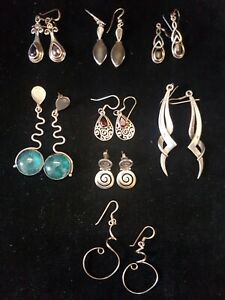 Eight Pairs of Sterling Silver Drop Earrings Some with Stones 41.95g
