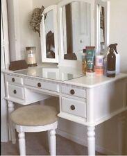 Bedroom Vanity Set Antique Makeup Table Stool Drawers Folding Mirror Wood White