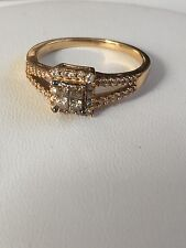 14k Yellow Gold Champagne Diamond Princess Cut Cluster Ring  Size 7