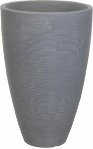 43cm Tall Light Grey Ribbed Planter Indoor Outdoor Extra Wide Flower Plant Pot