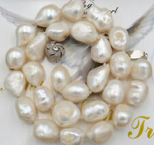 """12-14mm SOUTH SEA WHITE BAROQUE PEARL NECKLACE 18"""" JN1682"""