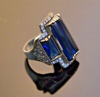 925 Sterling Silver Handmade Gemstone Turkish Sapphire Ladies Ring Size 6-9