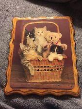 Vintage 1960-1970s Art Deco Kitten Cat Teddy Bear Wood Photo Plaque Wall Decor